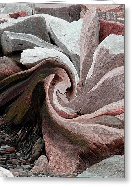Agate Beach Greeting Cards - Abstract Pink Greeting Card by Marcia Lee Jones
