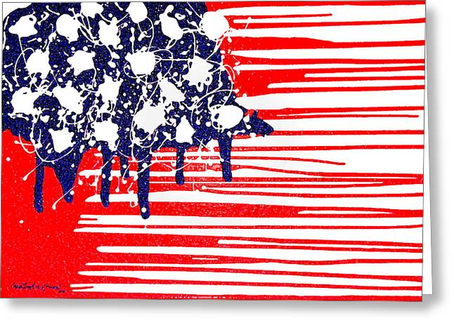 Abstract American Flag Greeting Cards - Abstract Plastic Wrapped American Flag Greeting Card by Cristophers Dream Artistry