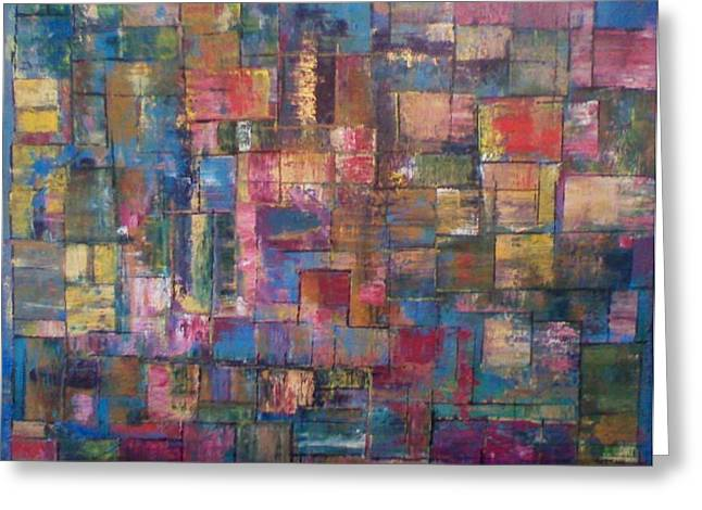 Abstract Quilt Greeting Card by Robert Anderson