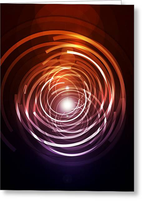 Futuristic Greeting Cards - Abstract Rings Greeting Card by Michael Tompsett