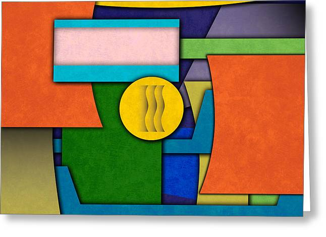 Silkscreen Greeting Cards - Abstract Shapes Color One Greeting Card by Gary Grayson