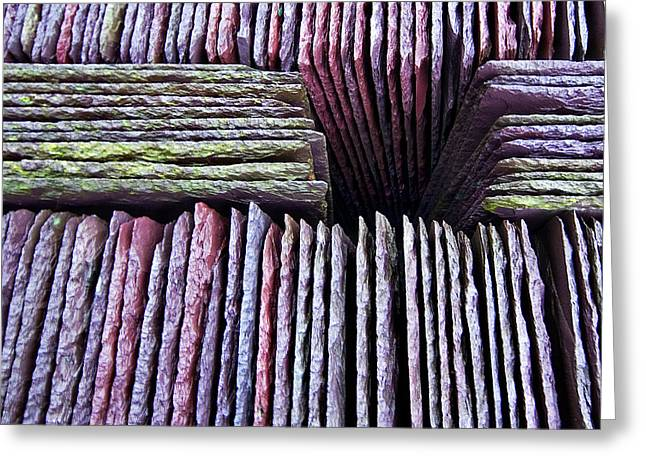 Coloured Greeting Cards - Abstract Slate Pile Greeting Card by Meirion Matthias