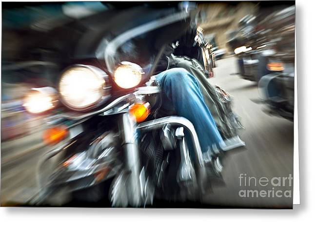 Bike Trip Greeting Cards - Abstract slow motion bikers riding motorbikes Greeting Card by Anna Omelchenko