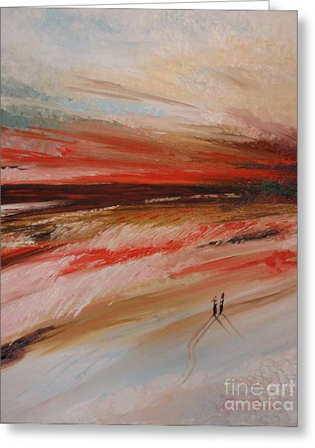 Pallet Knife Greeting Cards - Abstract sunset II Greeting Card by Tatjana Popovska