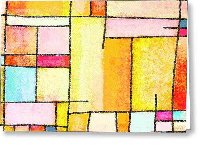 Wallpaper Pastels Greeting Cards - Abstract Town Greeting Card by Setsiri Silapasuwanchai