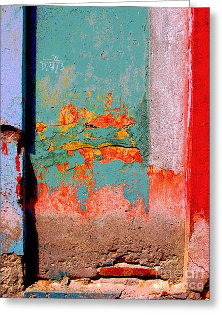 Gypsy Greeting Cards - Abstract Wall by Michael Fitzpatrick Greeting Card by Olden Mexico