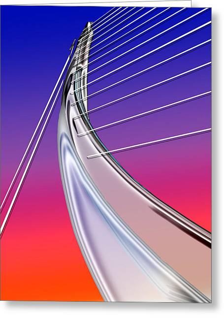 Modern Digital Art Digital Art Paintings Greeting Cards - Abstract Wired Steel Arc on Rainbow Neon Greeting Card by Elaine Plesser