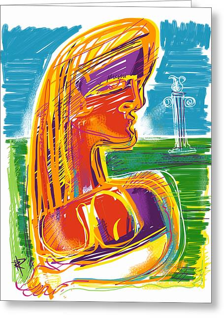 Loose Hair Greeting Cards - Abstract Woman Greeting Card by Russell Pierce