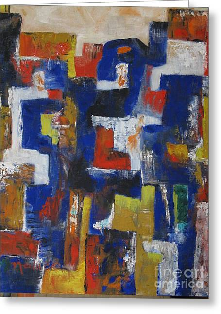 Vertical Red Abstract Art On Canvas Greeting Cards - Abstract1 Greeting Card by Nedunseralathan R