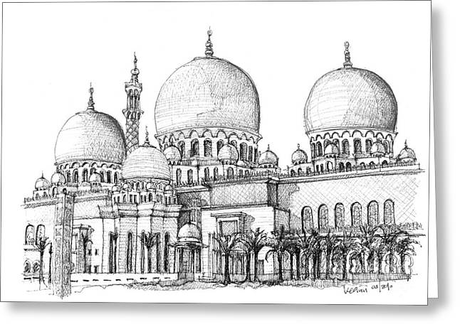 Pen And Ink Framed Prints Greeting Cards - Abu Dhabi Masjid in ink  Greeting Card by Lee-Ann Adendorff