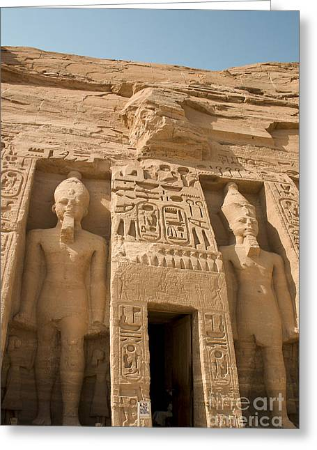 Pharaoh Greeting Cards - Abu Simbel Temple Greeting Card by Darcy Michaelchuk