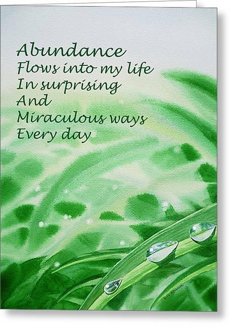 Dew Greeting Cards - Abundance Affirmation Greeting Card by Irina Sztukowski