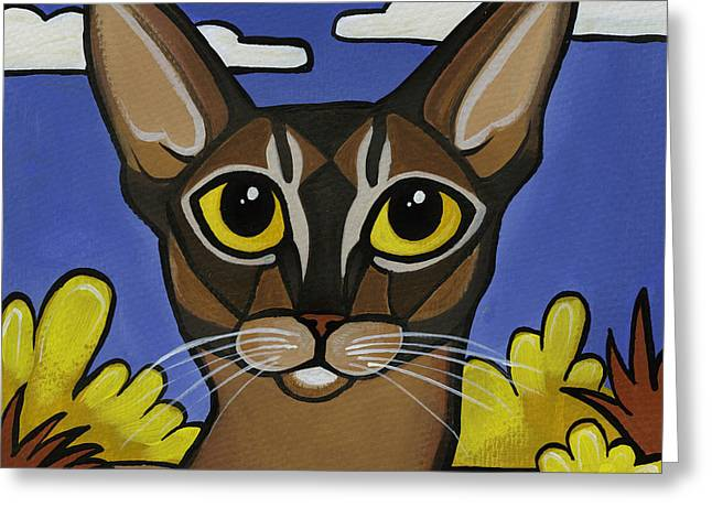 Cat Breeds Portraits Greeting Cards - Abyssinian  Greeting Card by Leanne Wilkes