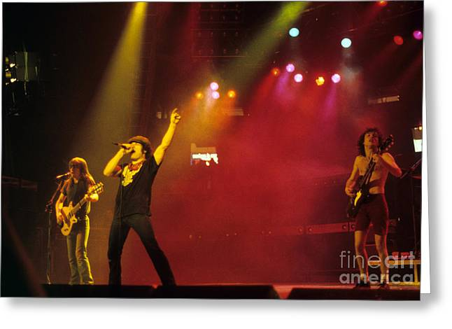 Angus Young Greeting Cards - AC DC - Back In Black Tour Greeting Card by Rich Fuscia