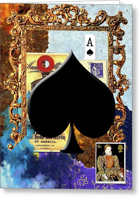 Playing Cards Mixed Media Greeting Cards - Ace of Spades Greeting Card by Michele Jackson