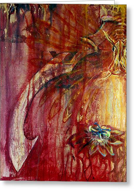 Florida Flowers Mixed Media Greeting Cards - Ace of Swords Greeting Card by Ashley Kujan
