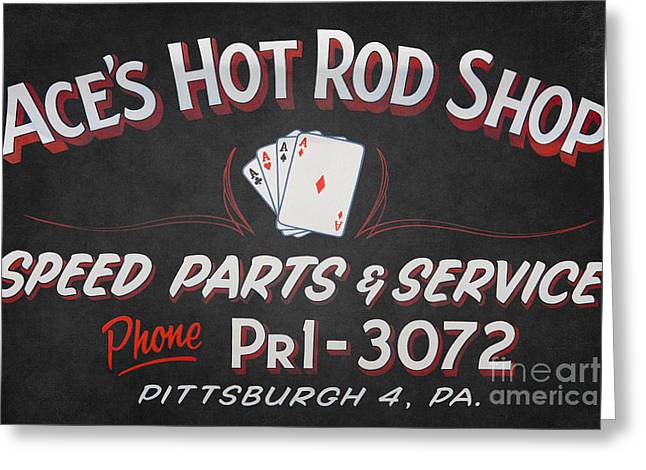 Side Panel Greeting Cards - Aces Hot Rod Shop Greeting Card by Clarence Holmes