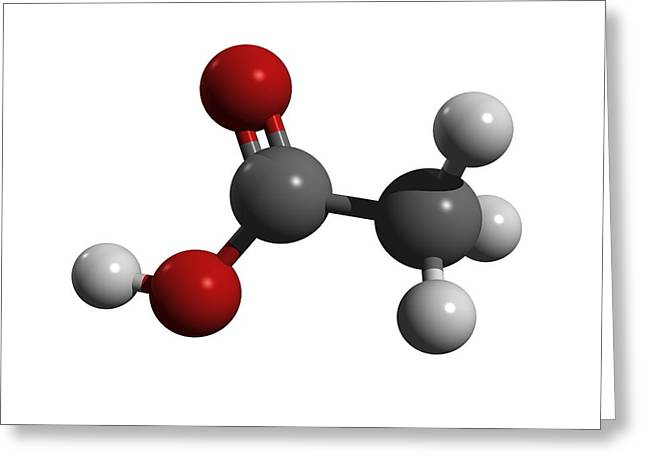 Vinegar Greeting Cards - Acetic Acid Molecule Greeting Card by Friedrich Saurer