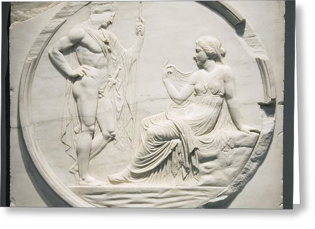 Nude Relief Sculpture Greeting Cards - Achilles Consulting Pythia, Roman Carving Greeting Card by Sheila Terry