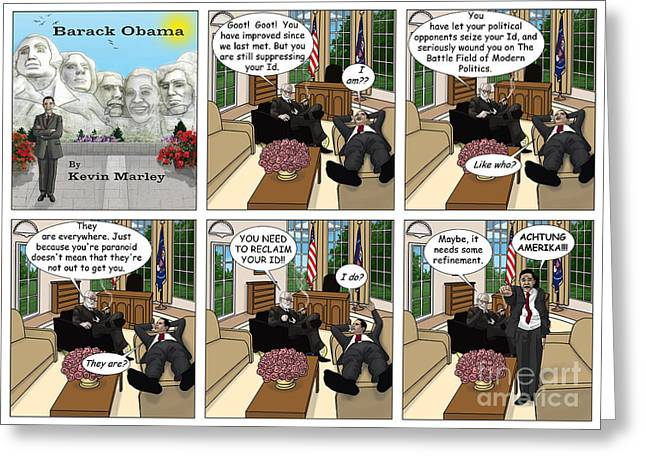 Michelle Obama Digital Art Greeting Cards - Achtung Amerika Greeting Card by Kevin  Marley
