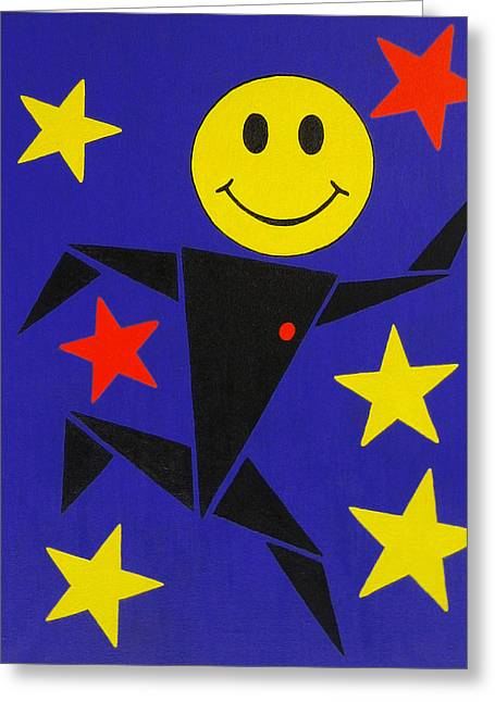 Wow Paintings Greeting Cards - Acid Jazz Greeting Card by Oliver Johnston