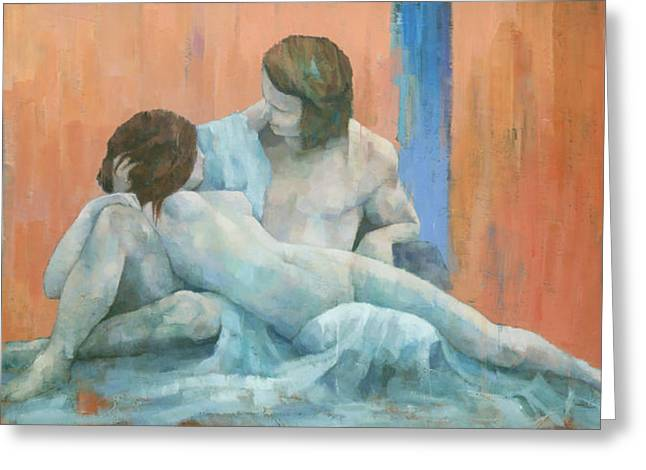 Greek Myths Greeting Cards - Acis and Galatea Greeting Card by Steve Mitchell