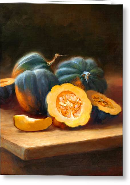 Cooks Illustrated Paintings Greeting Cards - Acorn Squash Greeting Card by Robert Papp