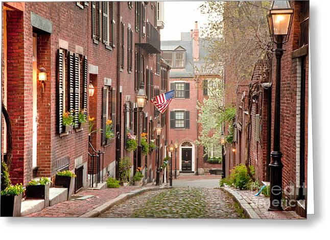 Colonial Architecture Greeting Cards - Acorn Street Greeting Card by Susan Cole Kelly