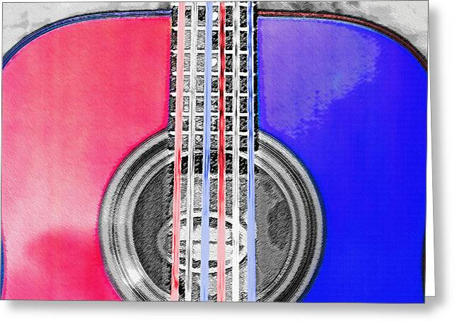 Playing Musical Instruments Mixed Media Greeting Cards - Acoustic Guitar - Americana Greeting Card by Steve Ohlsen
