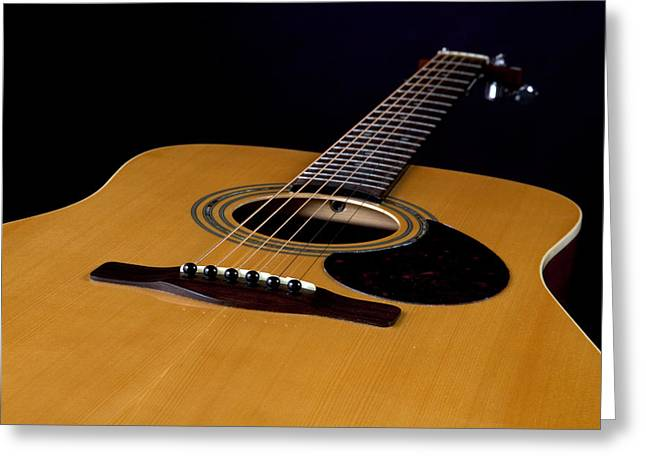 Guitar Pictures Greeting Cards - Acoustic Guitar  Black Greeting Card by M K  Miller