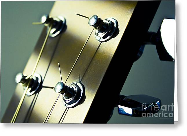 Dappled Light Greeting Cards - Acoustic Guitar Head Greeting Card by Gordon Wood
