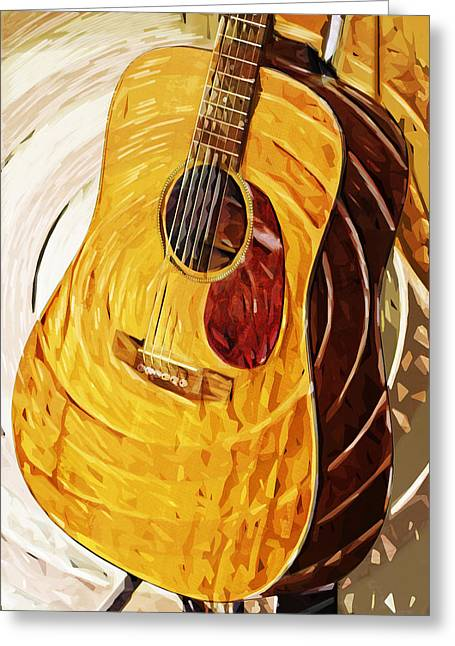 Acoustic On Stand Greeting Card by Tilly Williams