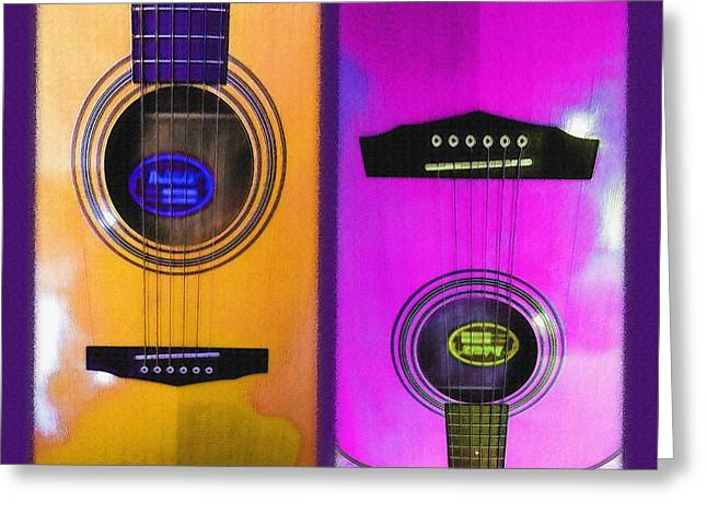 Playing Musical Instruments Mixed Media Greeting Cards - Acoustical - Guitar Diptych 2 Greeting Card by Steve Ohlsen