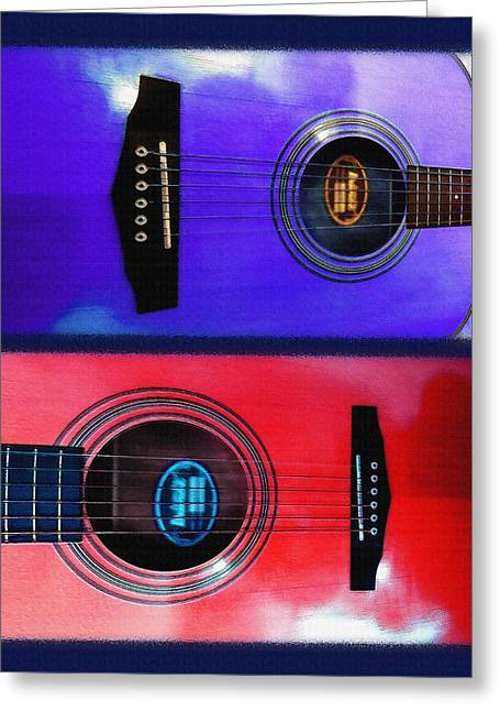 Playing Musical Instruments Mixed Media Greeting Cards - Acoustical - Guitar Diptych Greeting Card by Steve Ohlsen