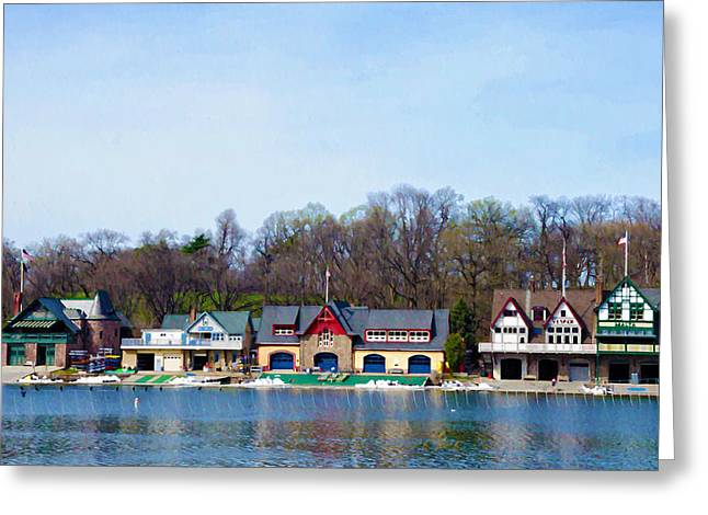 Boathouse Greeting Cards - Across from Boathouse Row - Philadelphia Greeting Card by Bill Cannon