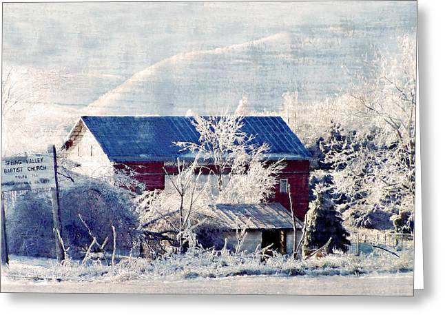 Rockbridge County Greeting Cards - Across From The Church Greeting Card by Kathy Jennings