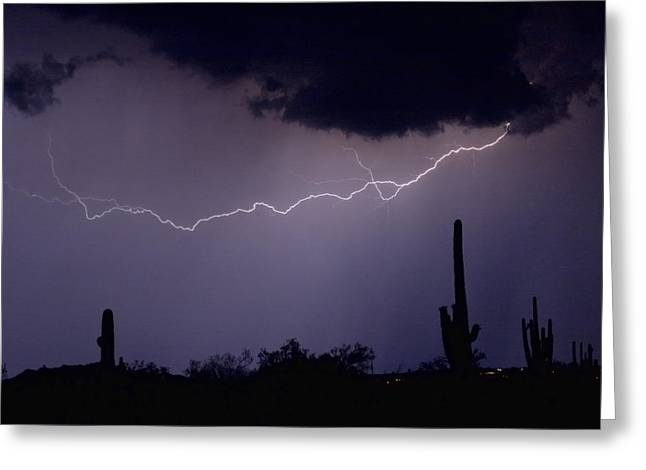 Lightning Photography Photographs Greeting Cards - Across the Desert Greeting Card by James BO  Insogna
