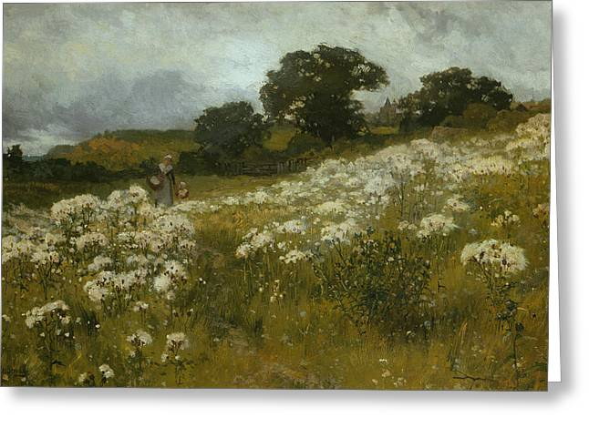 Hill Paintings Greeting Cards - Across the Fields Greeting Card by John Mallord Bromley