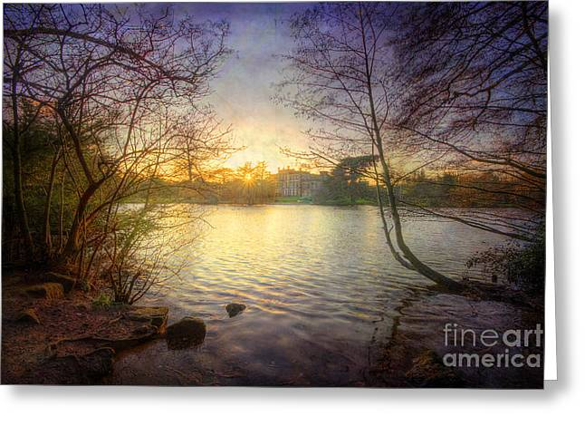 Sunset Framed Prints Greeting Cards - Across The Lake Greeting Card by Yhun Suarez