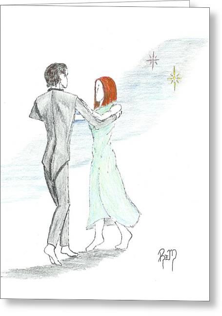 Robert Meszaros Greeting Cards - Across The Night...sketch Greeting Card by Robert Meszaros