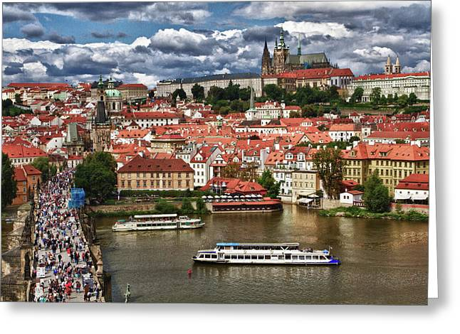 St Charles Bridge Greeting Cards - Across the River Greeting Card by Jason Wolters