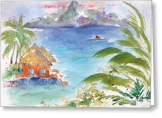 Tahiti Greeting Cards - Across The Sea Of The Moon Greeting Card by Pat Katz