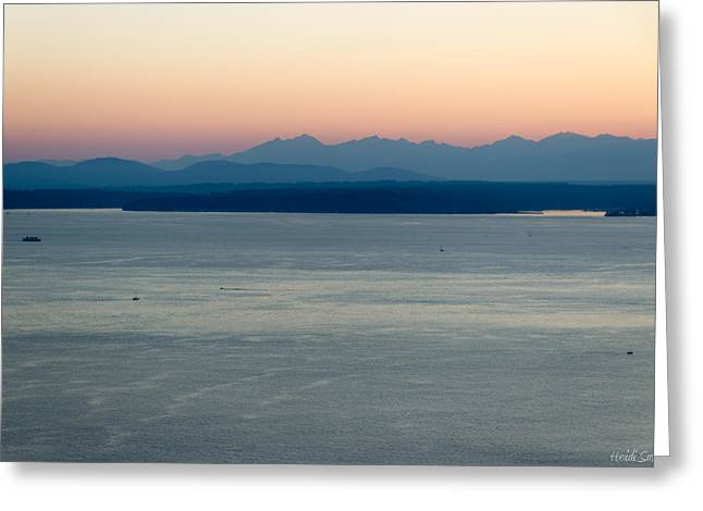 Bainbridge Island Greeting Cards - Across The Sound Greeting Card by Heidi Smith