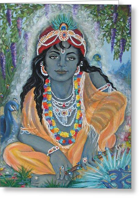 Gopala Greeting Cards - Acrylic on Canvas Greeting Card by Radha Flora Cloud