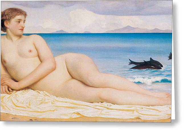 Woman Reclinging Greeting Cards - Actaea the Nymph of the Shore Greeting Card by Frederick Lord Leighton