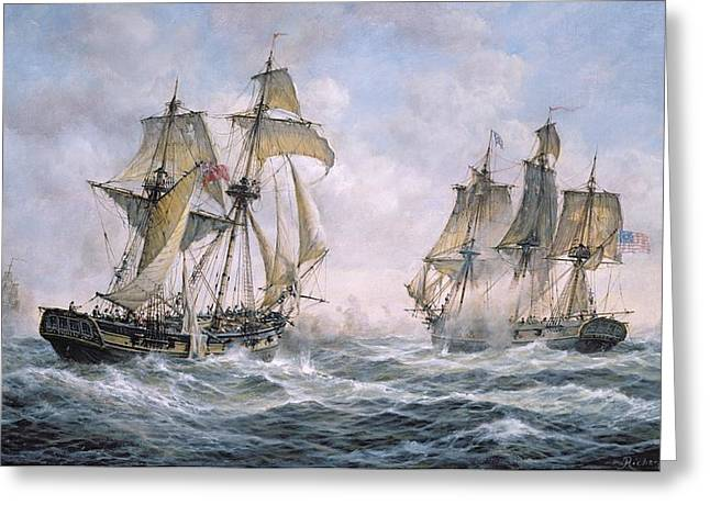 Waving Flag Greeting Cards - Action Between U.S. Sloop-of-War Wasp and H.M. Brig-of-War Frolic Greeting Card by Richard Willis