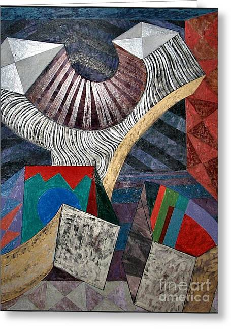 Geometric Abstraction Mixed Media Greeting Cards - Active Cubes Greeting Card by Jeanette Leuers
