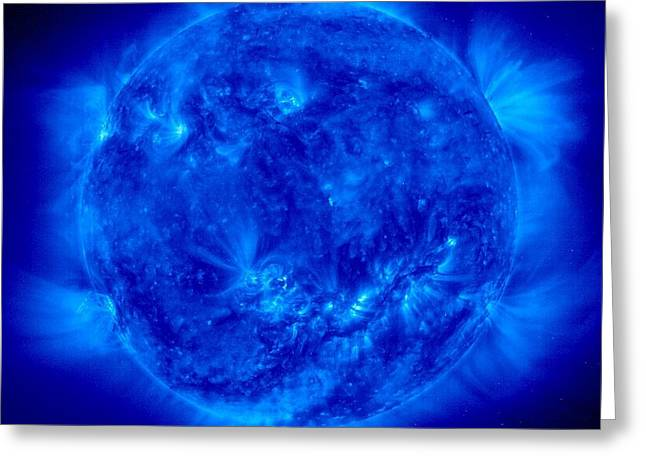 Hot Iron Greeting Cards - Active Sun In Ultraviolet Light, Soho Greeting Card by Solar & Heliospheric Observatory consortium (ESA & NASA)