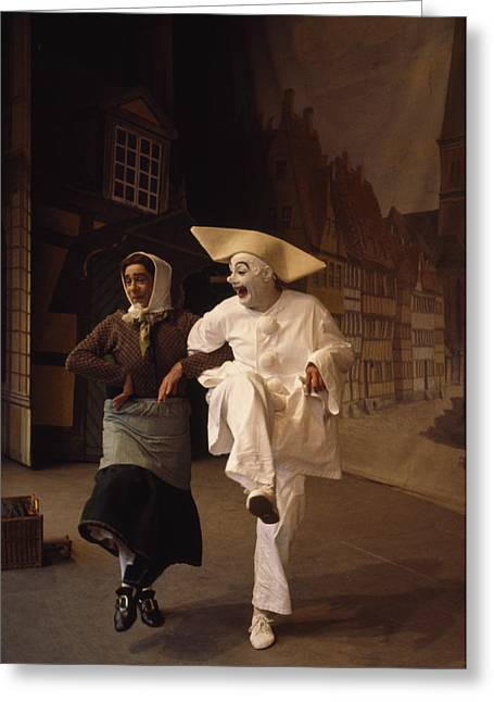 Pierrot Greeting Cards - Actors Perform Pantomimes At Tivoli Greeting Card by Sisse Brimberg