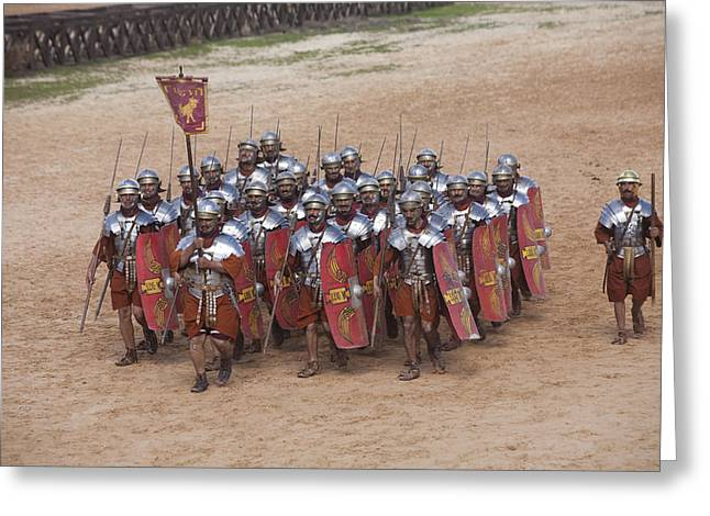Jordan Greeting Cards - Actors Re-enact A Roman Legionaries Greeting Card by Taylor S. Kennedy